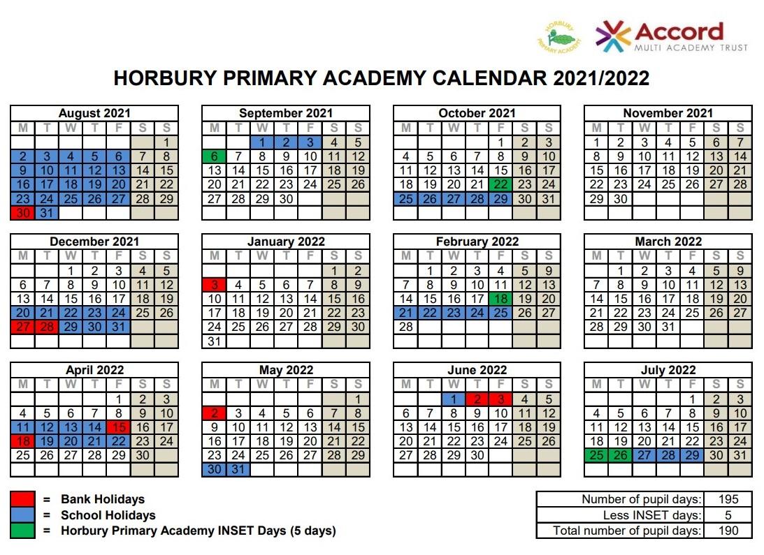 Primary Calendar 2022.Term Dates 2021 2022 Horbury Primary Academy